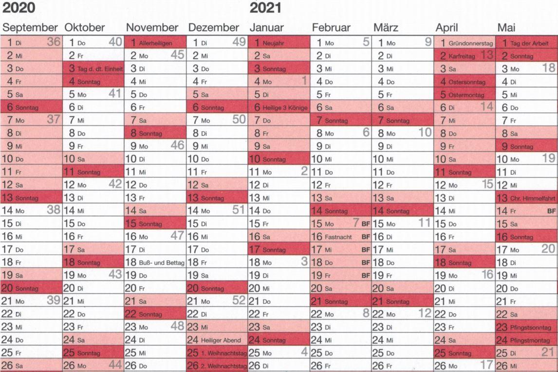 Ferienplan 2020/2021